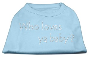 Who Loves Ya Baby? Rhinestone Shirts Baby Blue XL (16)